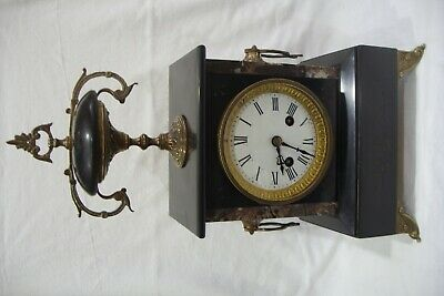 Late 19th Century Black Slate & Marble 8 Day Mantle Clock For Repair.