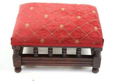 Antique Victorian Mahogany Foot Stool Newly Re-Upholstered [5837]