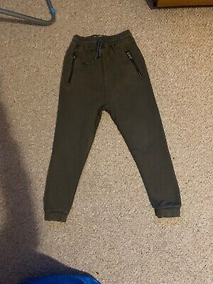Boys Khaki Green Next Joggers Age 8 Good Condition