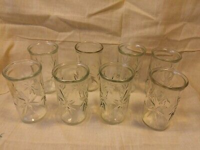 Vintage Anchor Hocking Atomic Star Burst Clear Juice Jelly Glass USA Lot Of 8