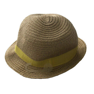 Baby Gap Boys Or Girls Baby 0 - 6 Months Eastet Hat Woven With Yellow Trim #H25