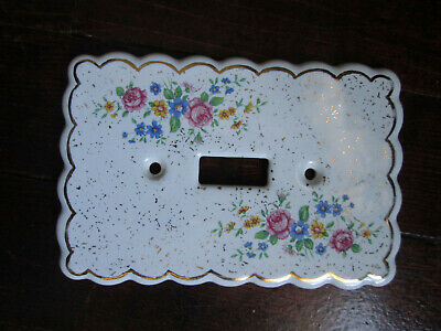 Vintage Shabby Porcelain Electric Single Switch Plate Cover flowers