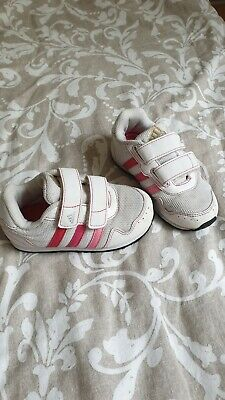 UK 7 infant adidas girls trainers white and pink