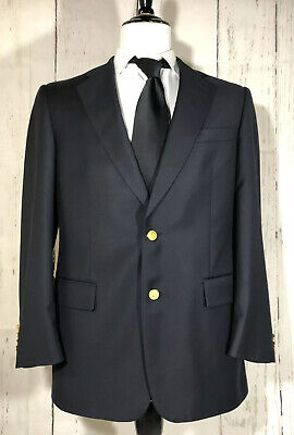 Brooks Brothers CC X Loro Piana Men's 40R Two Gold Button Sport Coat Dark Navy