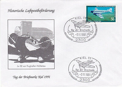 Germany 1991 Kiel Historic Airmail Stamp Day Cover Unadressed VGC