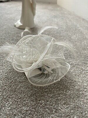 Small white And Silver Wedding fascinator On clip Ladies Day Races Ascot