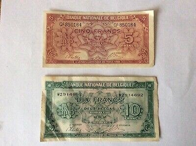1943 WW2 Banque Nationale De Belgique 5 Franc and 10 Franc notes