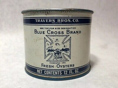 Vintage Blue Cross Brand Fresh Oyster Tin Can 12 Oz  Travers Brothers Co. MD 15