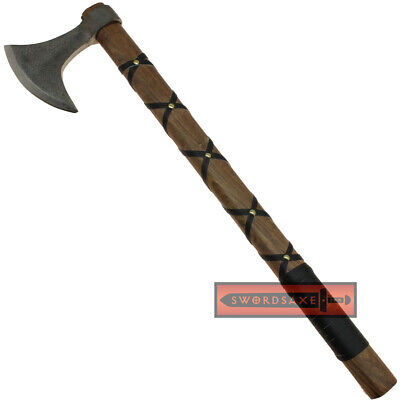 Viking Age Odin's Bearded Ragnar Axe of Ragnarok High Carbon Steel Leather Grip