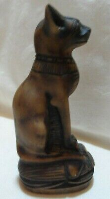 "Egyptian Stone or Soap Stone Ancient Cat BASTET Figurine 5&1/2"" tall"