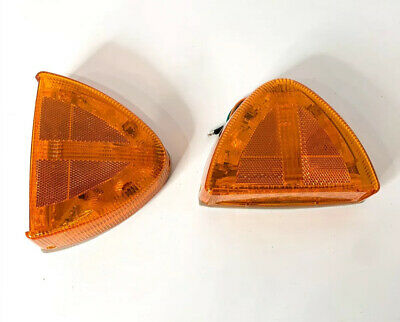 Pair Low Profile Amber LED Side Turn Signals For Peterbilt 379 378 Headlights