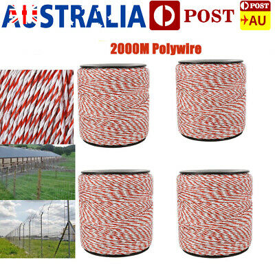 4pcs 500m Polywire Roll Electric Fence Energiser Stainless Poly Rope Insulator.