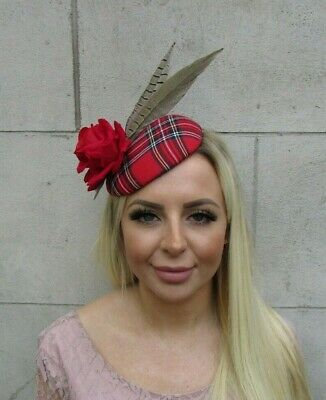 Red Green Yellow Tartan Plaid Brown Pheasant Feather Hat Fascinator Races 8077