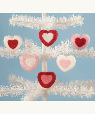 Bethany Lowe Valentines Day Felted Wool Red Pink White Heart Ornaments Set/6