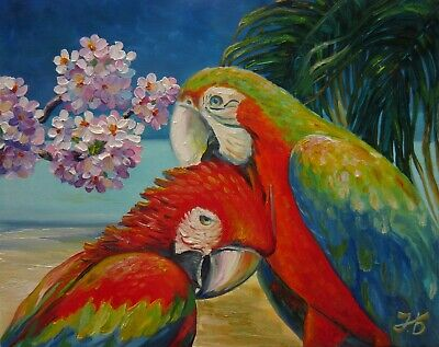 Hello Honey, I am back home! Red Macaw Parrots Original Oil Painting by N Bykova