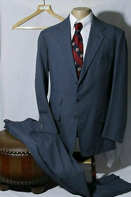 Anderson & Sheppard Savile Row Men's Blue 3 Button Suit Surgeon Cuff 42R W36