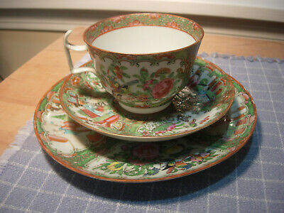 Antique Chinese Export Rose Medallion Cup, Saucer & Luncheon Plate C 1840-1880