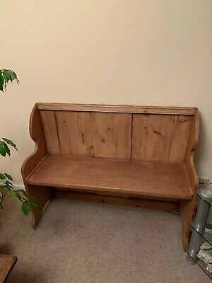 wooden church pew-Pine wood- reasonable condition.