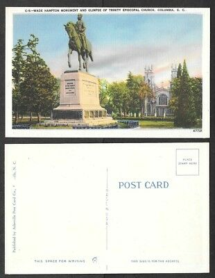Old South Carolina Postcard - Columbia - Wade Hampton Statue - Confederate