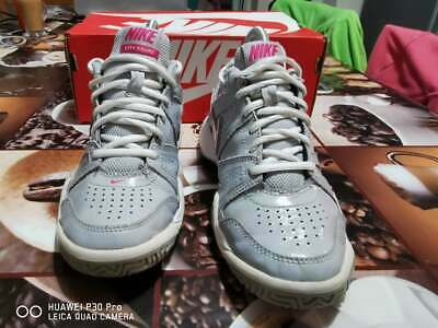 Nike City Court Trainers Patent Grey & Pink Size UK 3