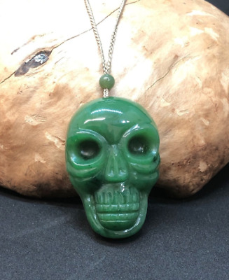 Nephrite Jade Hand Carved Skull Pendant Adjustable Necklace