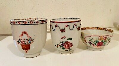 Antique Chinese Export Porcelain Tea Cups & Small Bowl