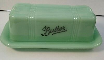 Vintage Style Jadeite Underlined Black Letter Stick Butter Dish with Lid