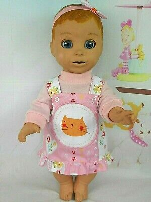 """Dolls clothes for 18"""" LUVABELLA DOLL~ ORANGE CAT FLORAL PINAFORE~TOP~HAIR BOW"""