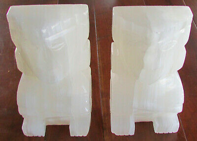 Vintage Bookends White Alabaster Stone White Aztec Totem Pole Marble Hand Carved