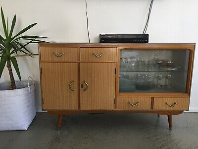 VINTAGE RETRO AUSTRALIAN GLASS DISPLAY CABINET - *Pick up only*