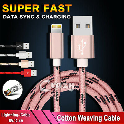 Lightning Data Cable Charger For Apple iPhone 11 Pro XS Max 7 XR 8 6S SE 5 iPad