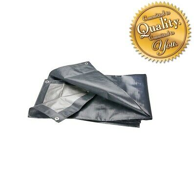 Grey 200GSM Heavy Duty Reinforced Mesh Waterproof Tarpaulin Cover Mono Sheet