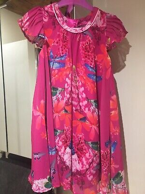Ted Baker Beautiful butterfly/ Floral Pink  girls Dress Age 6 Worn Once