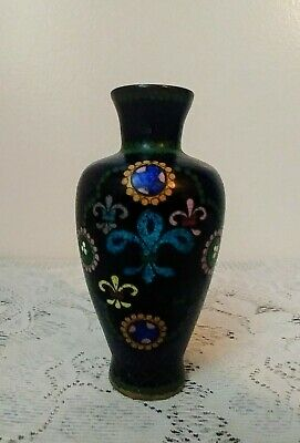 Antique Chinese Cloisonne Vase Deep Blue Copper Brass Enameled Vase
