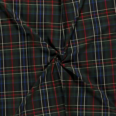 Scottish Tartan Check Fabric Material - BLUE GREEN