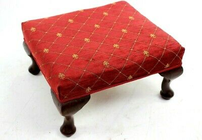 Antique Victorian Large Mahogany Foot Stool Newly Re-Upholstered [5838]