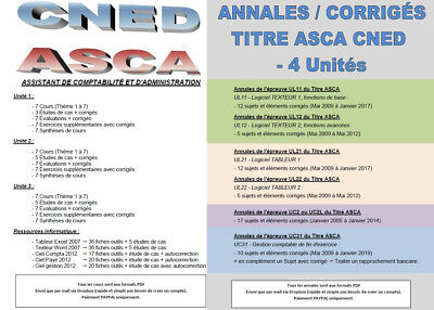 Formation ASCA CNED + Annales & Corrigés - UL11/12 - UL21/22 - UC2/2L - UC31