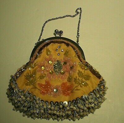 "Victorian Style Beaded Evening Bag 8""t x 8""w. with Beaded Fringe"