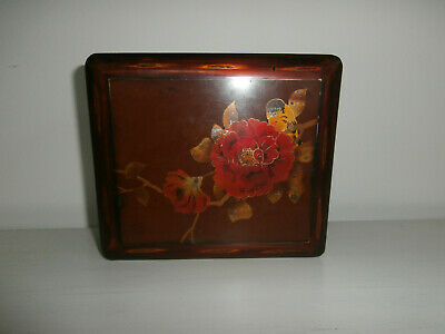Chinese Papier Mache Lacquer Hand Painted Red Floral Coloured Box With Bird Rare