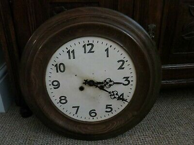Antique English Oak Wall Clock with Key 16'' Diameter for Repair or Spares