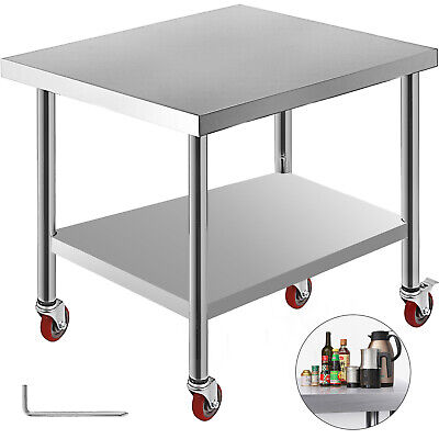 """Rolling Stainless Steel Top Kitchen Work Table Cart + Casters Shelving 30""""x36"""""""