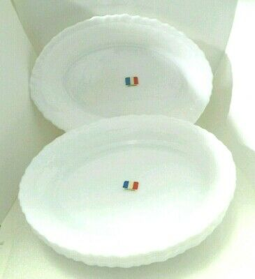 "SU.  ""Arcopal"" France  6 pieces Scalloped Caracas Milk Glass Oval Bowl  9.2""x 7"""