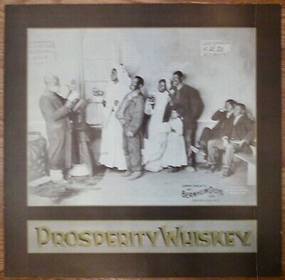 Prosperity Whiskey Black Americana Wedding Lithograph cardboard sign 1897