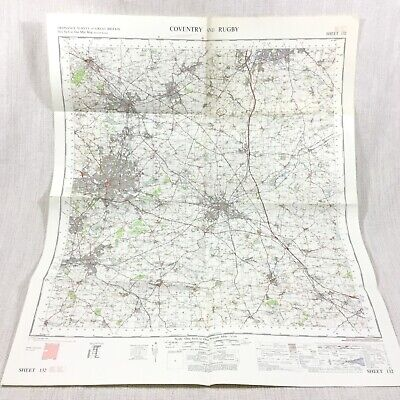 1967 Vintage Military Map of Coventry Rugby Nuneaton Hinckley Bedworth Daventry