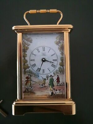 Halcyon Days 8 Day Carrage Clock English Movemnent Shooting Theme Dial With Key
