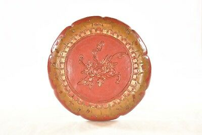 Antique Chinese Red & Gilded Wooden Carved Fruit Tray / Box
