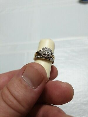 9ct Yellow Gold Engagement Ring Size L + Wedding Ring Size M .5 carrots in diamo