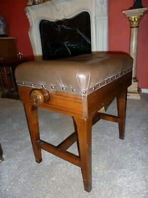 Adjustable Early 20th Century Mahogany Piano Stool - Collection Only