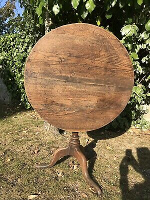 Antique Georgian Round Oak Tilt Top Table-dinning-fire Guard-Vintage-occasional