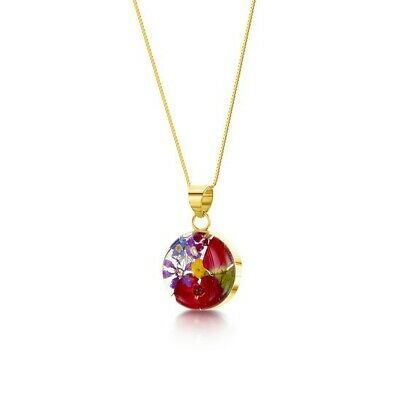 23K Gold Plated Silver Necklace Handmade With Real Poppy Rose Flowers Round Gift